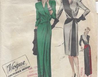 "1940s Vintage VOGUE Sewing Pattern B32"" DRESS (R571) Vogue 333"