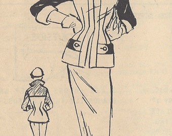 """1950s Vintage Sewing Pattern TWO-PIECE SUIT B32"""" (R657) By Modes Royale 1137"""