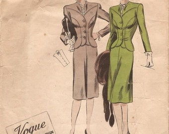 194Os WW2 Vintage VOGUE Sewing Pattern B32 Suit - Jackets - Skirt & Dickey  (1121) Vogue 308