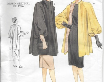 "1946 Vintage VOGUE Sewing Pattern COAT B34""-36""-38"" (R399)"
