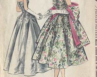 "1954 Vintage Sewing Pattern DRESS and STOLE B36""-S-18 (10) McCalls 3101"