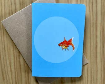 Goldfish In A Bowl Greeting Card - Animal Illustration - Blank Card - Collectable Illustration - Any Occassion