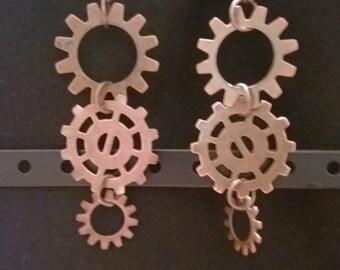 Steampunk Copper Gear Earrings - Copper Findings - Steampunk - Fantasy
