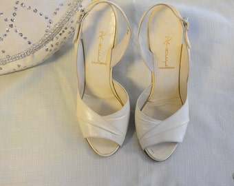 Cream leather heels 1950's