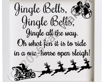 jingle bells christmas vinyl decal to suit 23cm box frame ikea ribba