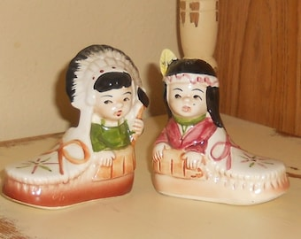 Vintage Native American Salt and Pepper Shakers - Native American Boy and Girl - Moccasins - Collectible - 1960's - Salt and Pepper Shakers