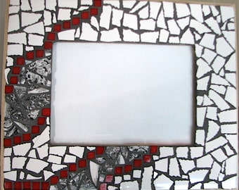 White, gray and Red mosaic frame