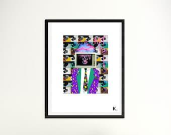 Illustration Warhol, poster warhol, portrait Warhol, interior design, poster, print, pop art, artist's portrait, pop illustration