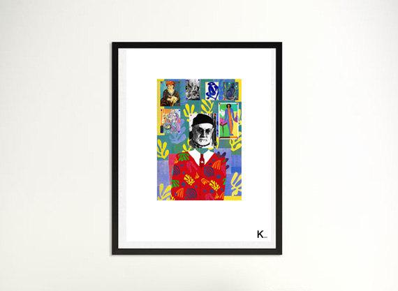 Matisse poster, illustration, print, digital art, interior design, Matisse portrait, poster modern art, colored, pop, graphic création