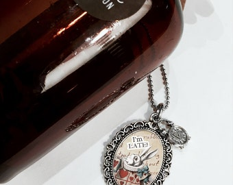 Necklace with White Rabbit pendant  - Alice in Wonderland Collection