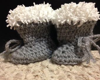Grey Crochet Baby Booties