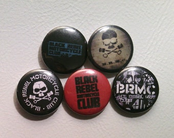 """5 x Black Rebel Motorcycle Club 1"""" Pin Button Badges ( brmc b.r.m.c. music )"""