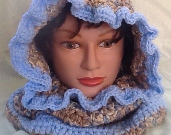Blue Camouflage Hooded Cowl