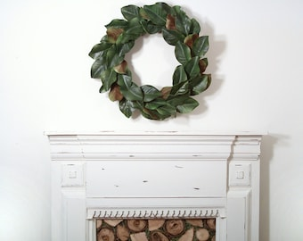 Magnolia Wreath, Fixer Upper, Front Door Wreath, Farmhouse Décor, Southern Décor, Magnolia Leaves, Magnolia Leaf Wreath