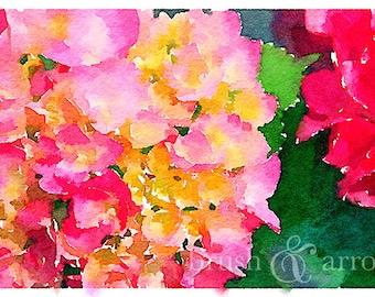 Hydrangea print, watercolor style image, instant digital download