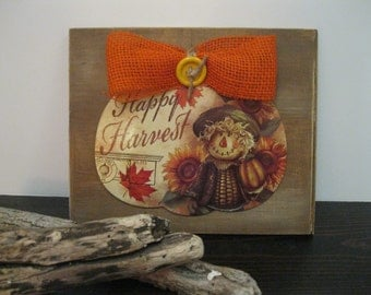 FALL Pumpkin Sign=HARVEST Fall PORCH Greeting=Happy Harvest Scarecrow Collage=Recycled Cute Cottage Fall Decoration=Autumn Door/ Patio Sign.
