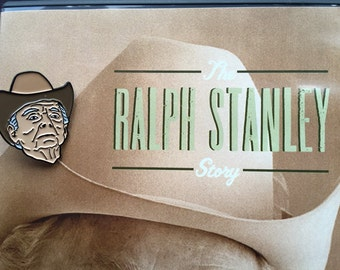 Ralph Stanley enamel lapel pin -- bluegrass clinch mountain banjo