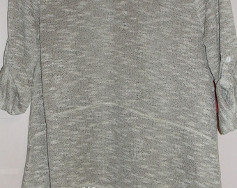 Erin London Stylish Gray Sweater Trimmed with Lace