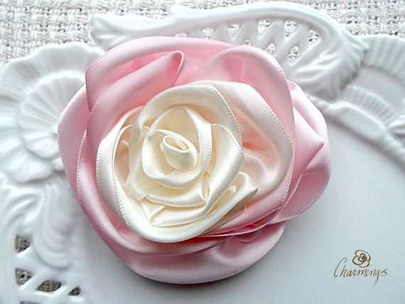 Noisette Rose Fabric Brooch, Wedding Flower Hair Pin, Bridesmaid Accessory, Bridal Prom Flower, Corsage, Rustic or destination wedding