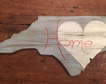 """Nc """"home"""" with white heart"""