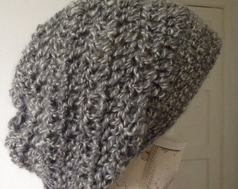 Grey and white crochet slouchy  wool hat