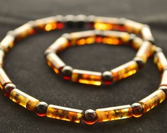 Baltic Amber Men's Necklace 50 cm modified polished rounded oblong style beads VPK-003