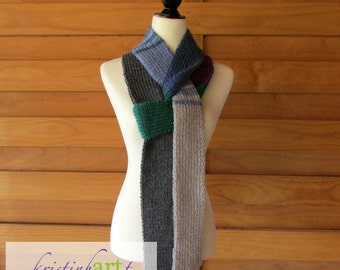Multi Colored Skinny Scarf / Handmade Knitted / Blue / Black / Gray / Teal / Burgundy / Women's Gift Idea / Acrylic / Long