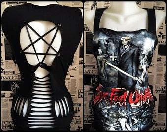 Six Feet Under Handmade Top shredded braided ripped Pentagram Custom Metal