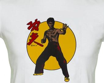 Bruce Lee Movie T Shirt Martial Arts Kung Fu Original 1970's Transfer Rare Vintage Retro