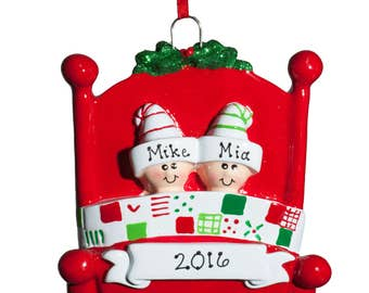 Personalized Ornament-Bedhead Family of Two(2)- Free Personalization