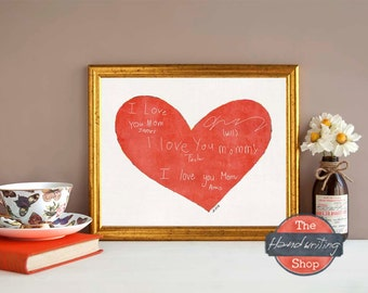 Personalized Handwriting Gift, Their Handwriting Made into Art, Each Family Member Writes I Love You, Treasured Gift, The Handwriting Shop