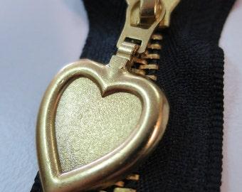 Black and Gold love heart zipper - 40cm