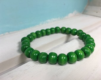 Green Wooden Bead Bracelet