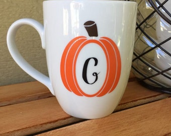 Pumpkin Initial Mug