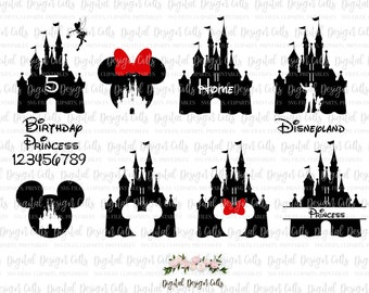 Disney Castle SVG, Disnes Castle Clipart, Disney and Mikki Mouse SVG, Disneyland SVG, Minni Mouse svg, Disney Princess svg, Home Disney