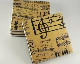 Antique Music Sheet Coasters - Ceramic Coasters - Musical Sheet Coasters - Drink Coasters - Ceramic Tile Coasters - Tile Coasters