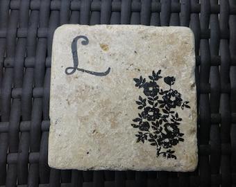 Floral Monogrammed Coasters-Set of 4