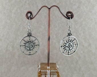 Large Silver Compass Earrings