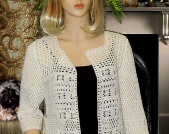 Hand knit jacket,knit lace jacket,crochet jacket cotton,white knitted jacket,Knitted cotton