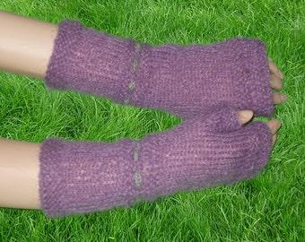 Hand knit Fingerless gloves,Knitted Fingerless Mittens,Mohair Fingerless gloves,Wrist warmers hand knitted lilac