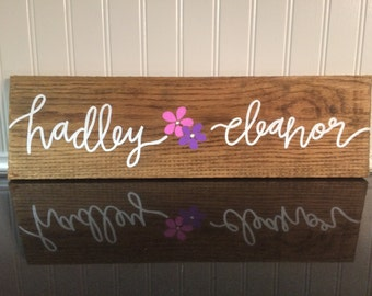 Baby Name Hand Lettered Wood Sign