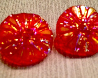 Vintage Buttons, Czech Glass Buttons, 2 Buttons, Red Buttons, Aurora Borealis Buttons, Flower Buttons, Vintage Sewing, Notions, Findings