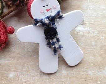 Handmade Wooden Gingerbread Man Christmas Tree Snow Buddy Decoration