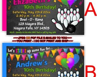 YOU PRINT - Bowling Birthday Invitation, Bowling Party Invite, Bowling Birthday Invite, Kids Bowling Birthday Invitations - BIRINV47a