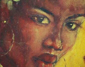 Black woman, Portrait, painting, with signature, Original