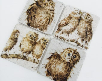 Handmade Natural Stone Coasters Set of 4 Owl Twit Twoo