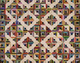 Bright Log Cabin Quilt (King Size)