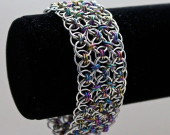 Chainmaille Bracelet, Cuff Bracelet, Helm Weave, Chainmaille Jewelry, Medieval Jewelry, Black Rainbow and Silver
