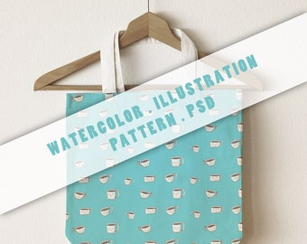 Watercolor Pattern Coffee . INSTANT DOWNLOAD