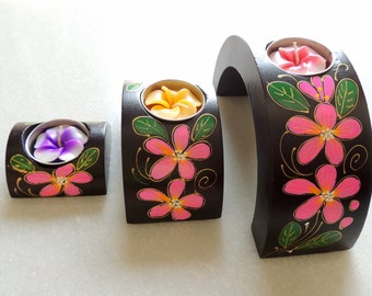 Decorative Candle Holder, 3 Piece Wooden Candle Stand Set, Hand Painted Wooden Candle Holder